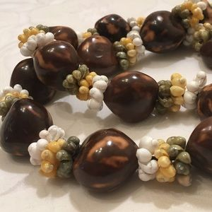 Vintage Brown Nut And Bead Necklace